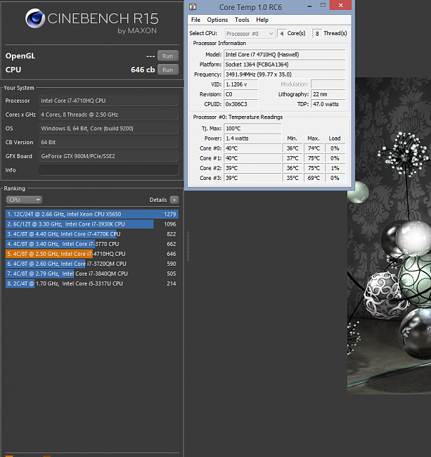 LOW SCORES and HIGH TEMPS in Cinebench and Realbench with