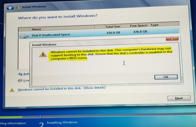 install windows 7 on m2 nvme