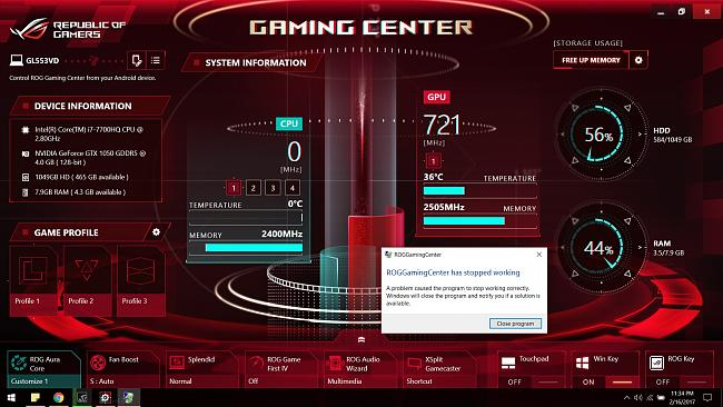 GL553VD - ROG Gaming Center stops working, fan speed, and