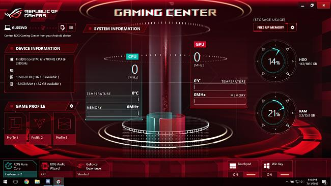 GL553VD ROG GAMING CENTER Not Detected the Graphic Card