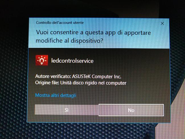 UAC prompt at startup since Windows 10 FCU (Led Service and