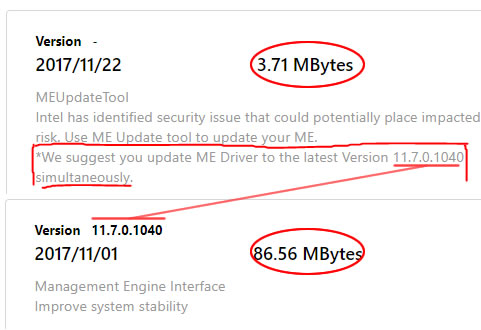 A new update for the ME Drivers  and a bios ME DRIVER