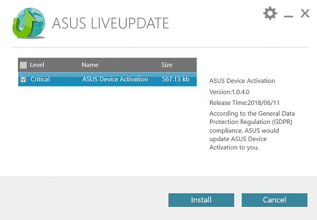 Asus device activation