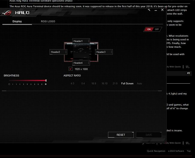 Asus Rog Aura Terminal software questions (Halo)