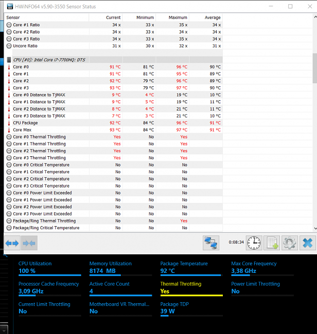 ASUS Zephyrus GX501 i7 7700HQ permament thermal throttling issue
