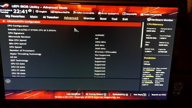 Asus ROG STRIX Z390-F GAMING + Core i7 9700k CPU iddle step down issue