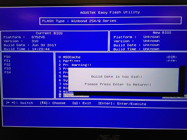 How to flash bios G752VS when have been flashed with firmware G752VSK ?
