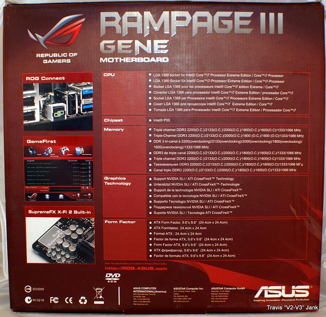 ASUS Rampage III Gene Retail box rear cover pictured