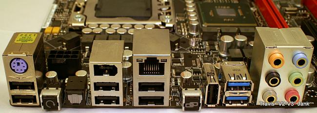 ASUS Rampage III Gene Motherboard I/O ports pictured