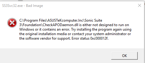 Click image for larger version.  Name:sonic suite error on strtup after trying to install gamefirst IV.PNG Views:71 Size:11.3 KB ID:66126