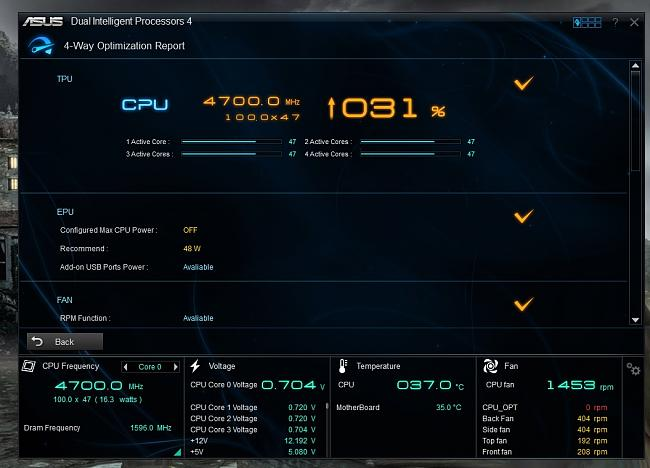 Click image for larger version.  Name:Asus AISuite3 Overclocked at 4.7GHZ.jpg Views:5 Size:156.4 KB ID:26655