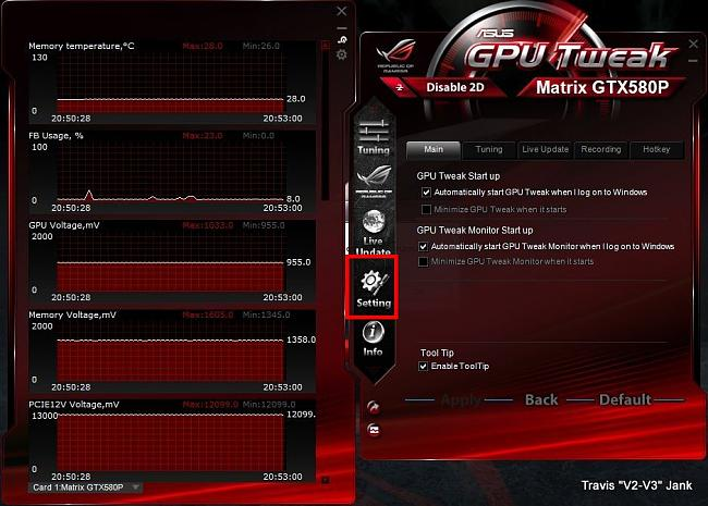 GPU Tweak Main Settings