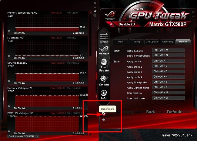 GPU Tweak Tuning Settings Benchmark Shortcut