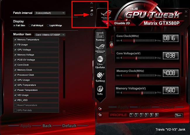 GPU Tweak Monitor Settings