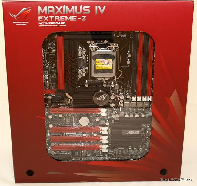 Maximus IV Extreme-z motherboard pictured in retail box window
