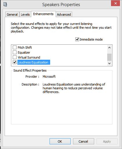 Click image for larger version.  Name:loudness setting in properties enhancements.JPG Views:199 Size:42.5 KB ID:48107