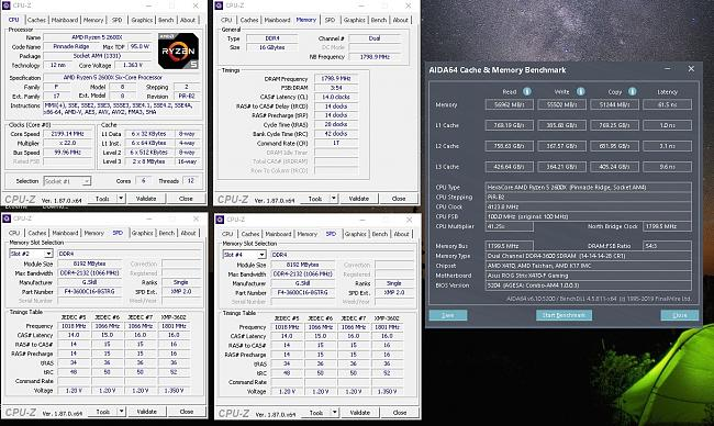 Click image for larger version.  Name:cpu-z and aida64 screenshot 3600 fast 4.125ghz.jpg Views:0 Size:357.3 KB ID:83318