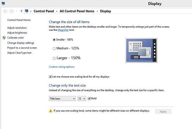 Click image for larger version.  Name:Display Control Panel 100 percent view.JPG Views:12 Size:61.3 KB ID:48058