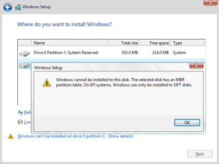 Click image for larger version.  Name:Windows cannot be installed on this disk. The selected disk has an MBR partition table2.png Views:7250 Size:31.5 KB ID:51770