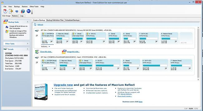 Click image for larger version.  Name:macrium reflect comes up showing partitions and Clone option.JPG Views:63 Size:182.0 KB ID:40803