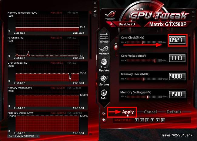 GPU Tweak Apply Overclocking Settings