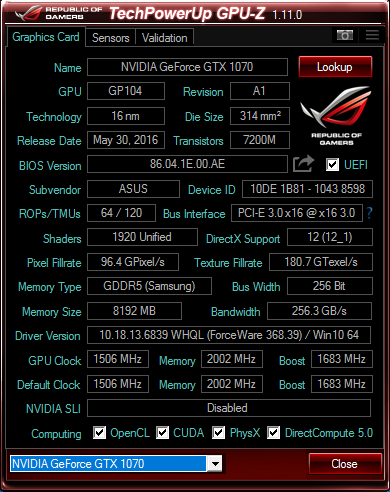 Click image for larger version.  Name:Asus 1070 STRIX Samsung Memory.PNG Views:559 Size:50.6 KB ID:59515