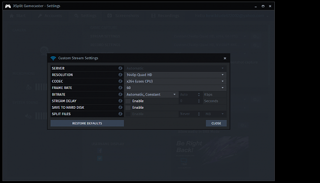 Click image for larger version.  Name:Gamecaster Settings.png Views:20 Size:114.3 KB ID:58660
