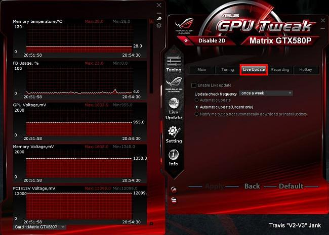 GPU Tweak Settings Live Update.