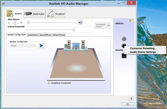 Click image for larger version.  Name:Realtek hd audio manager right click on headphone jack and select Connector Restasking.JPG Views:25 Size:92.5 KB ID:48555