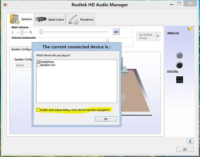 Click image for larger version.  Name:Realtek HD Audio Manager uncheck Enable auto Popup Dialog when device has been plugged in.JPG Views:14 Size:67.9 KB ID:48556