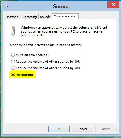 Click image for larger version.  Name:Sound control panel disable volume reduction from communication activity.JPG Views:119 Size:36.3 KB ID:48557