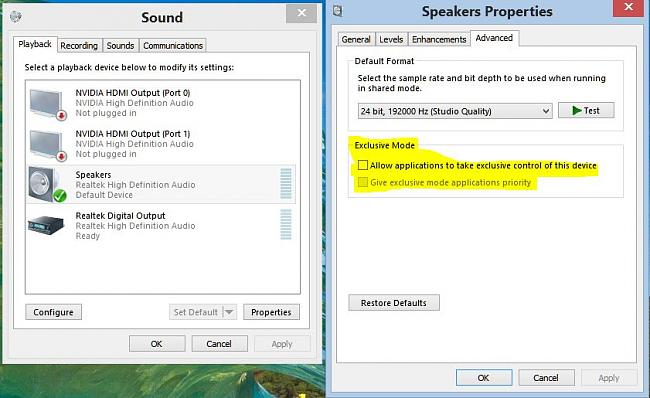 Click image for larger version.  Name:sound properties control panel uncheck exclusive settings.JPG Views:13 Size:77.7 KB ID:48558
