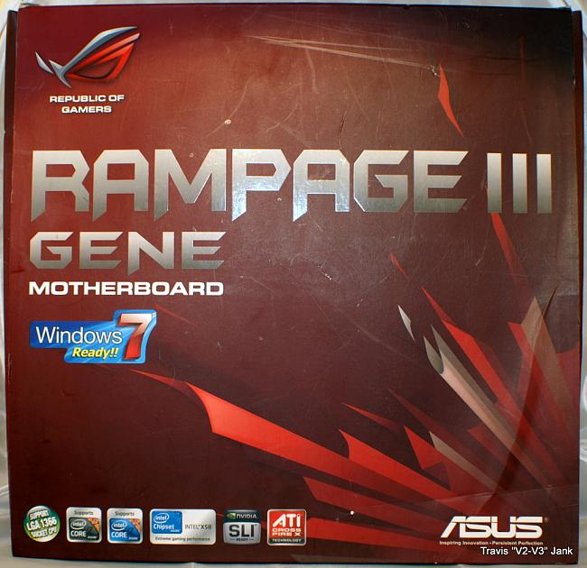 ASUS Rampage III Gene front of retail box.