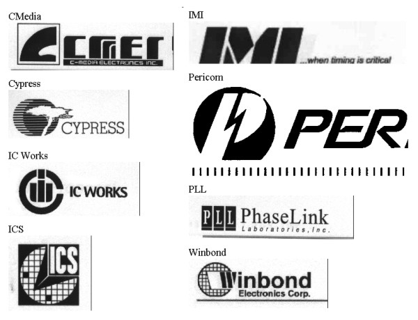 Motherboard PLL chip Manufacturers logos and names of phase locked loop clock generator chips for overclocking and changing bus speed