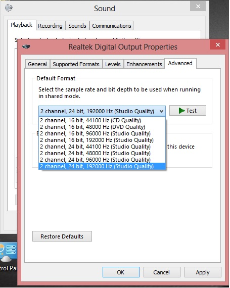 Click image for larger version.  Name:Realtek Digital Output Properties Supported Advanced.jpg Views:10 Size:85.6 KB ID:27136