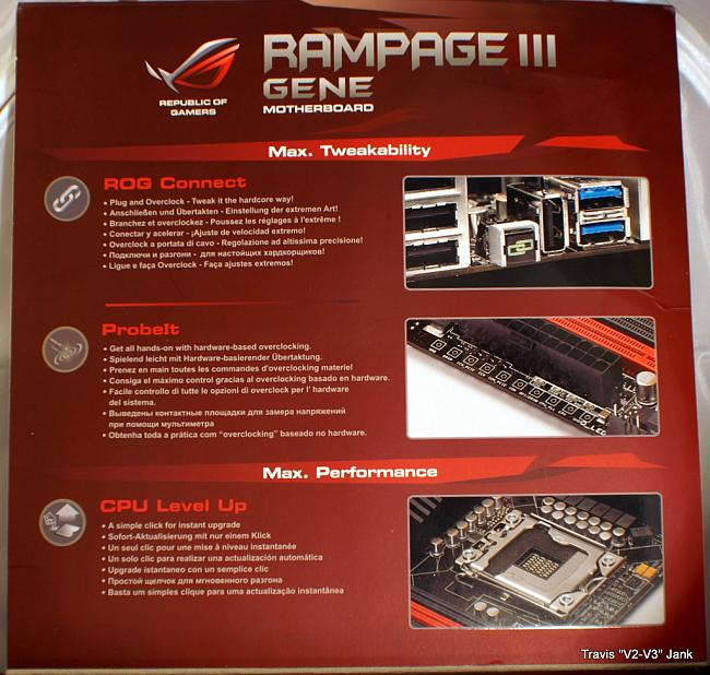 ASUS Rampage III Gene Retail box flap pictured