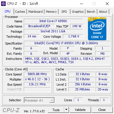 Broadwell-E X99 CPU frequency 5805mhz