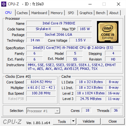 CPU-z validation i9-7980XE - 6104.52MHz by der8auer