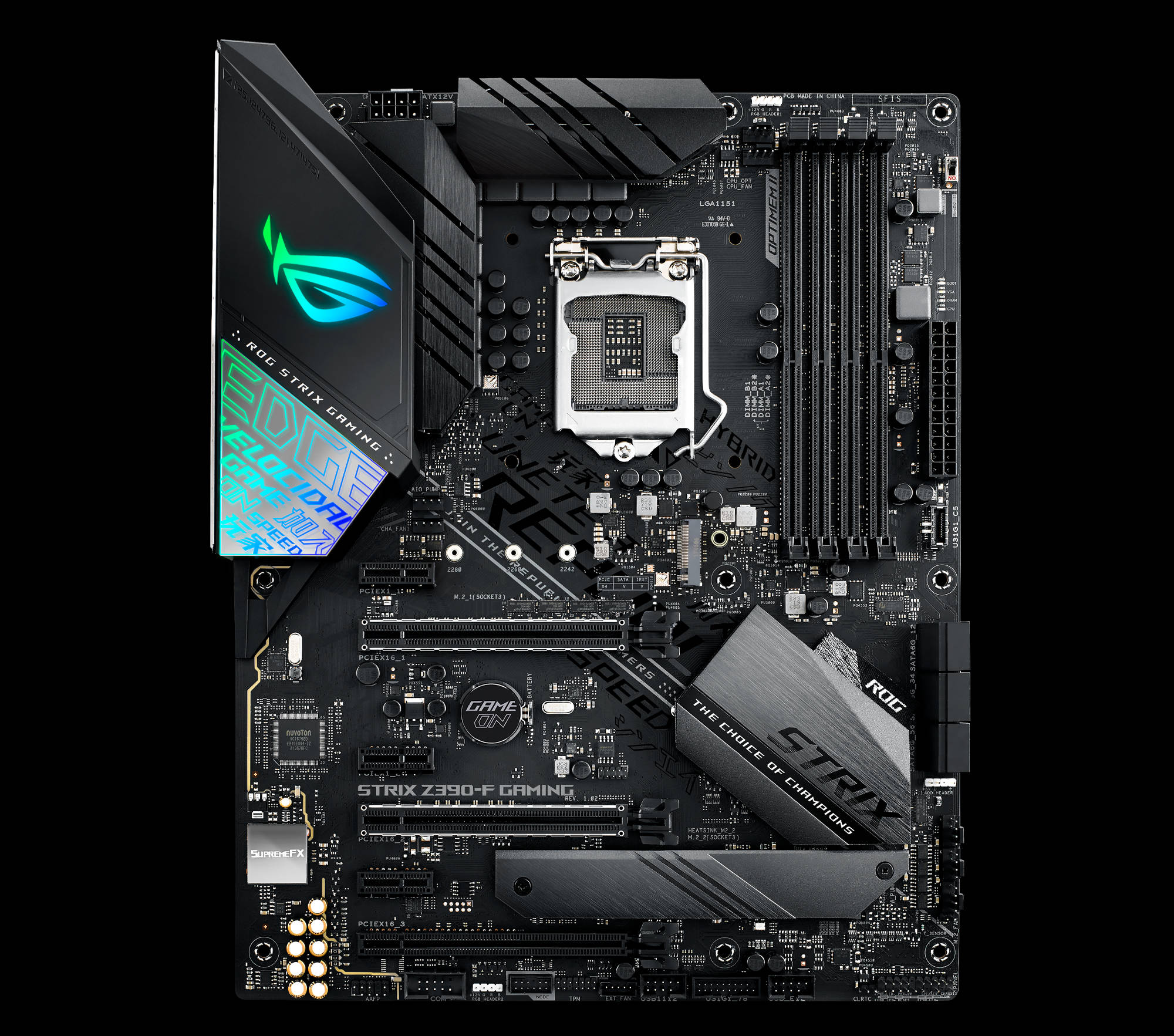 Introducing Rog Maximus And Strix Z390 Gaming Motherboards For 8 More Printed Circuit Boards We Buy Pictures Or Back To General E Distinctive Cyber Text Patterns Slash Across Not Only The Board But Also A Vinyl Surface On I O Shroud That Reflects Ambient Light