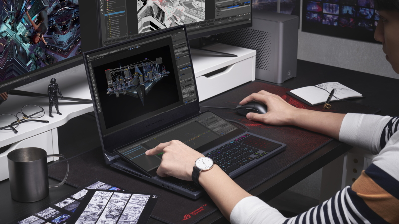 A groundbreaking multi-screen design makes the Zephyrus Duo 15 rise beyond compare
