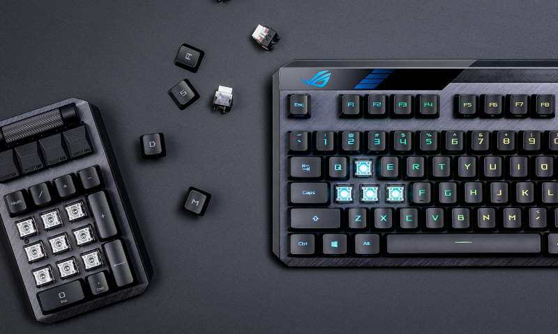 The ROG Claymore II gaming keyboard taps ROG RX Optical Mechanical switches and wireless connectivity for modular gaming superiority
