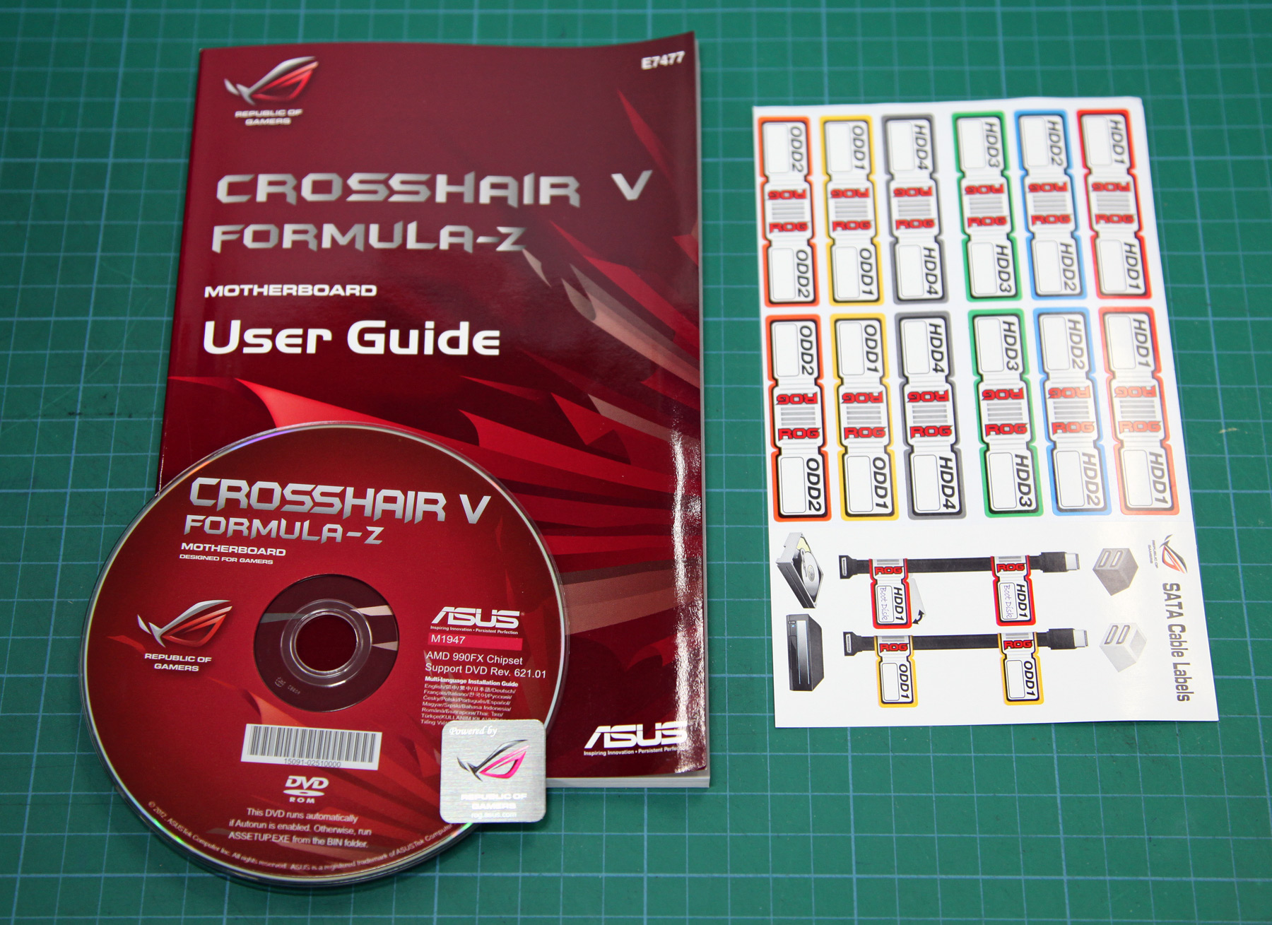 Unboxing The Crosshair V Formula Z Asus Usb Cable Wiring Diagram Six Sata Cables With 90 Degree Connectors For Flush Fitting Within Case Q Shield And An Rog Connect