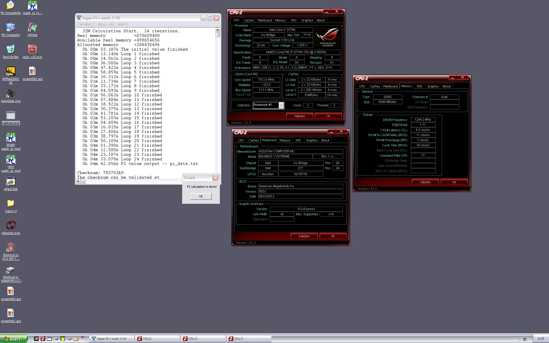 7GHz Core i7-3770K Hits SuperPi 32M World Record By Andre