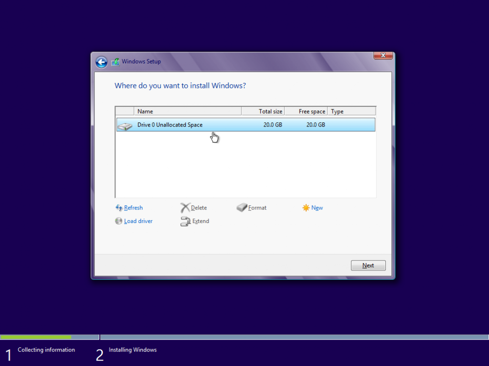Win8 Unallocated