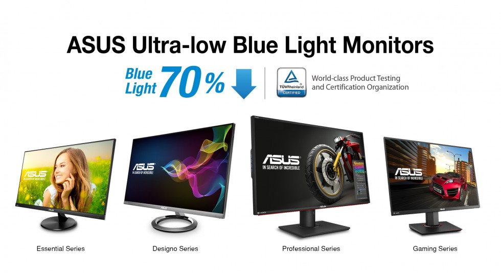 ASUS Ultra-Low Blue Light Monitors Receive Most Number of TÜV Rheinland Certifications PR image